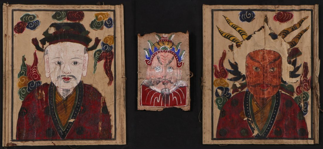 3 Paper Yao Priest Masks, South West China