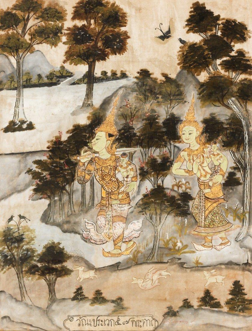 19th C. Thai Painting on Cloth