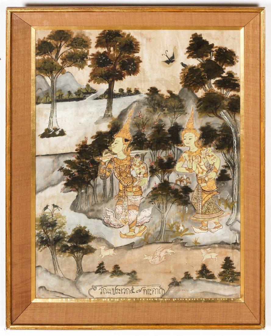 19th C. Thai Painting on Cloth - 2