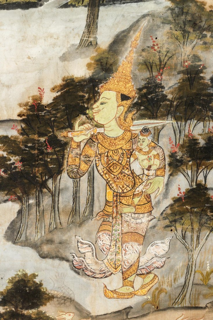 19th C. Thai Painting on Cloth - 4
