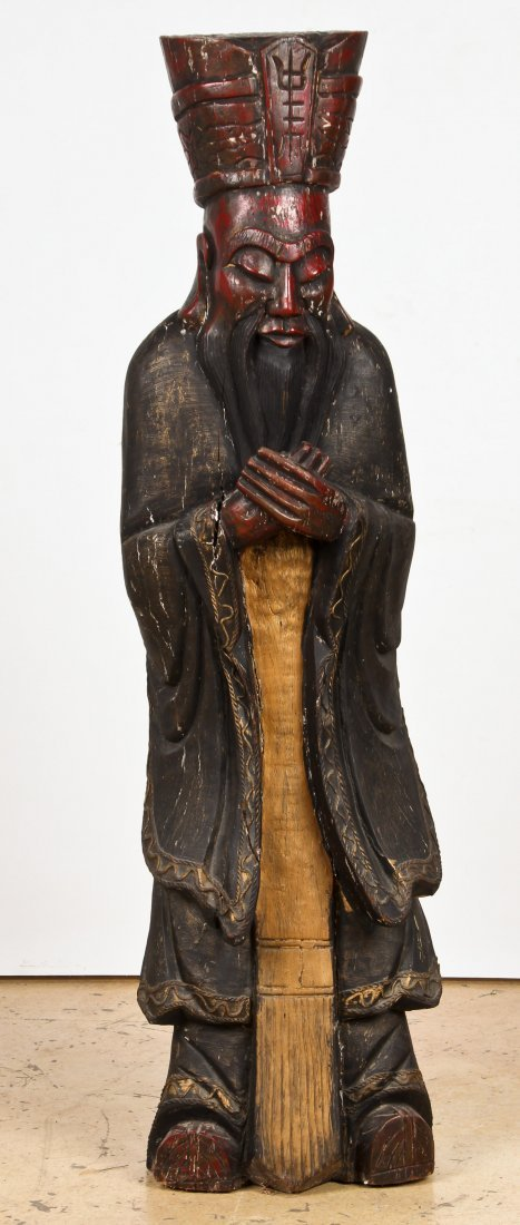 """Tall Carved Wood Chinese Immortal: 60"""" x 16"""" x 12"""""""