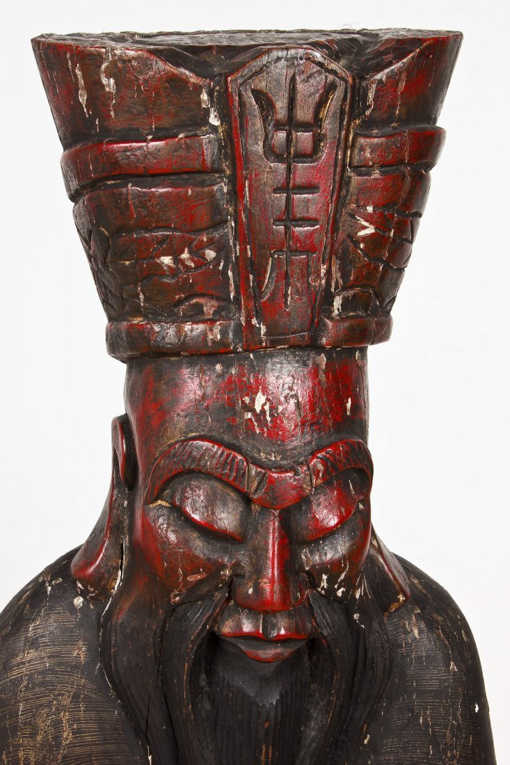 """Tall Carved Wood Chinese Immortal: 60"""" x 16"""" x 12"""" - 2"""