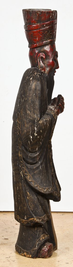 """Tall Carved Wood Chinese Immortal: 60"""" x 16"""" x 12"""" - 3"""