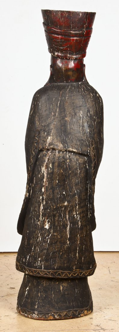"""Tall Carved Wood Chinese Immortal: 60"""" x 16"""" x 12"""" - 4"""