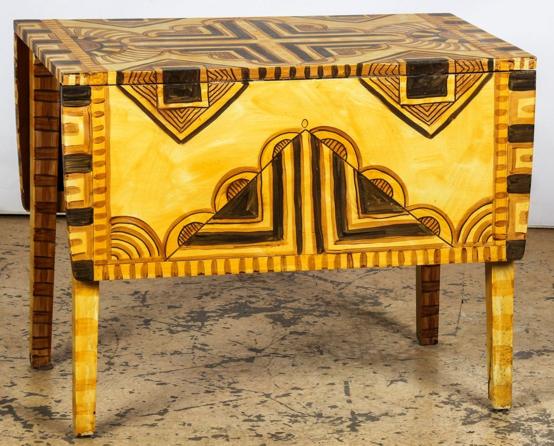 Moroccan Style Paint Decorated Pembroke Table
