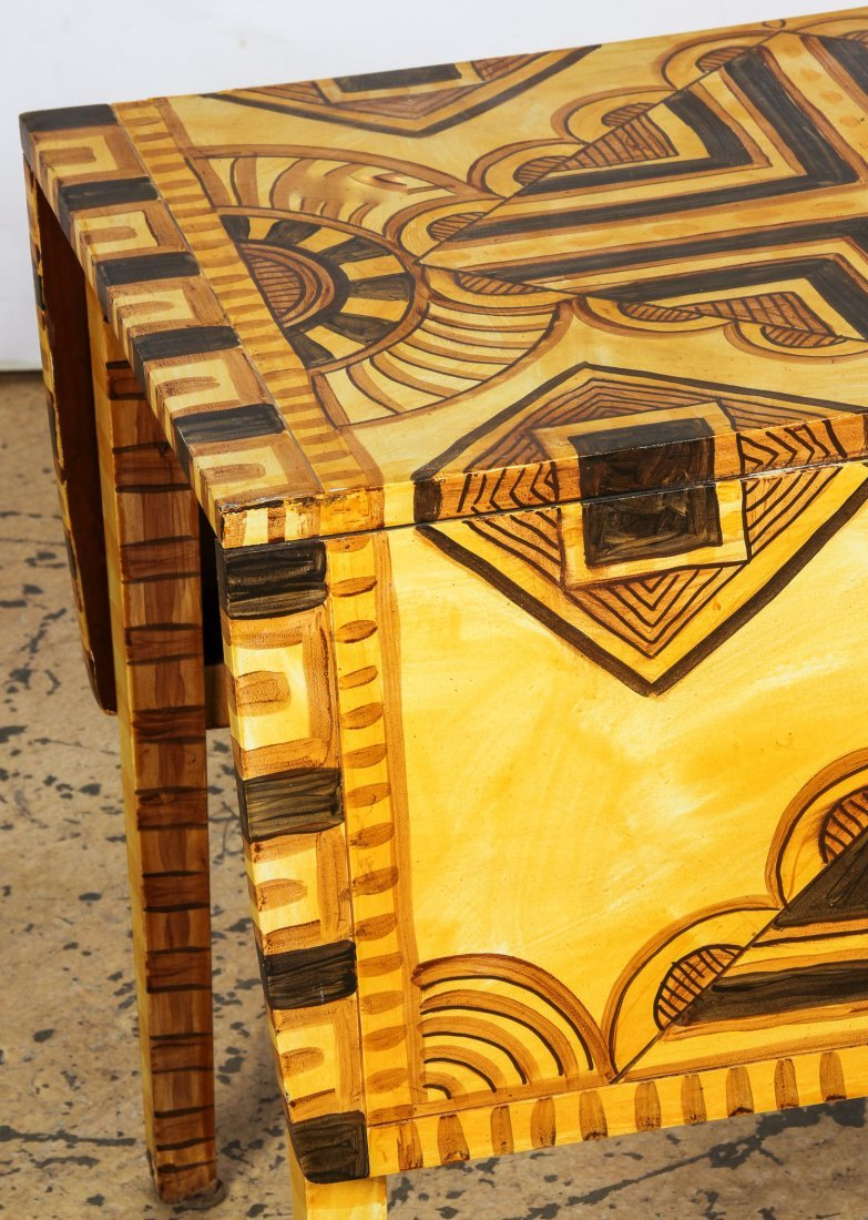 Moroccan Style Paint Decorated Pembroke Table - 2