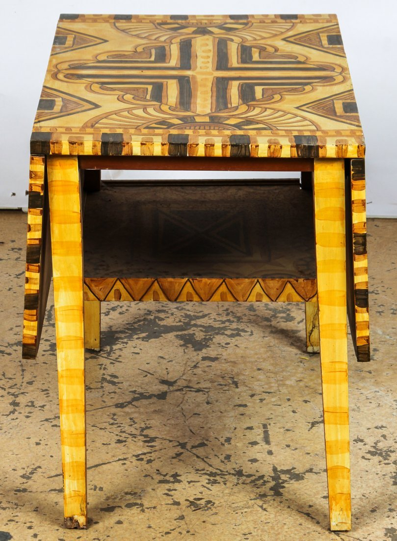 Moroccan Style Paint Decorated Pembroke Table - 3