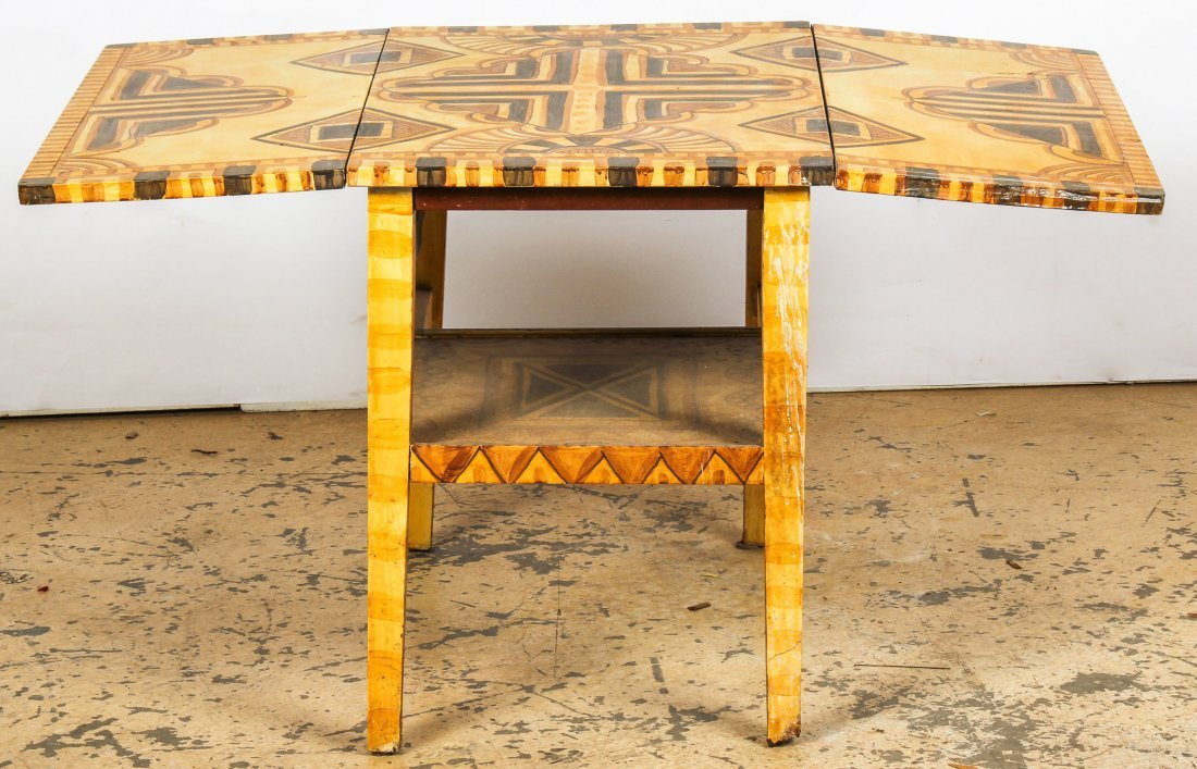 Moroccan Style Paint Decorated Pembroke Table - 4