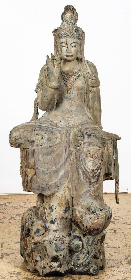 Massive Vintage Carved Wood Buddha, China