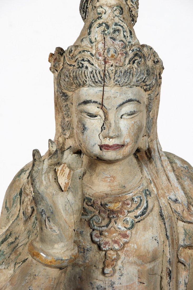 Massive Vintage Carved Wood Buddha, China - 2