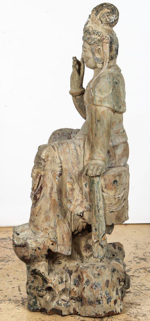 Massive Vintage Carved Wood Buddha, China - 3
