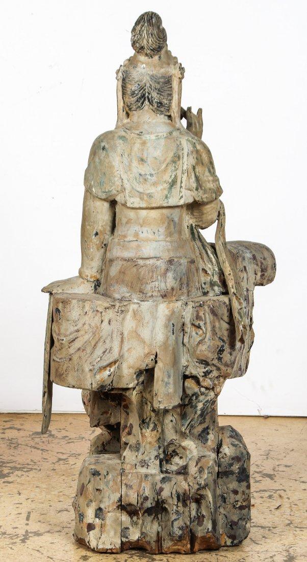 Massive Vintage Carved Wood Buddha, China - 4