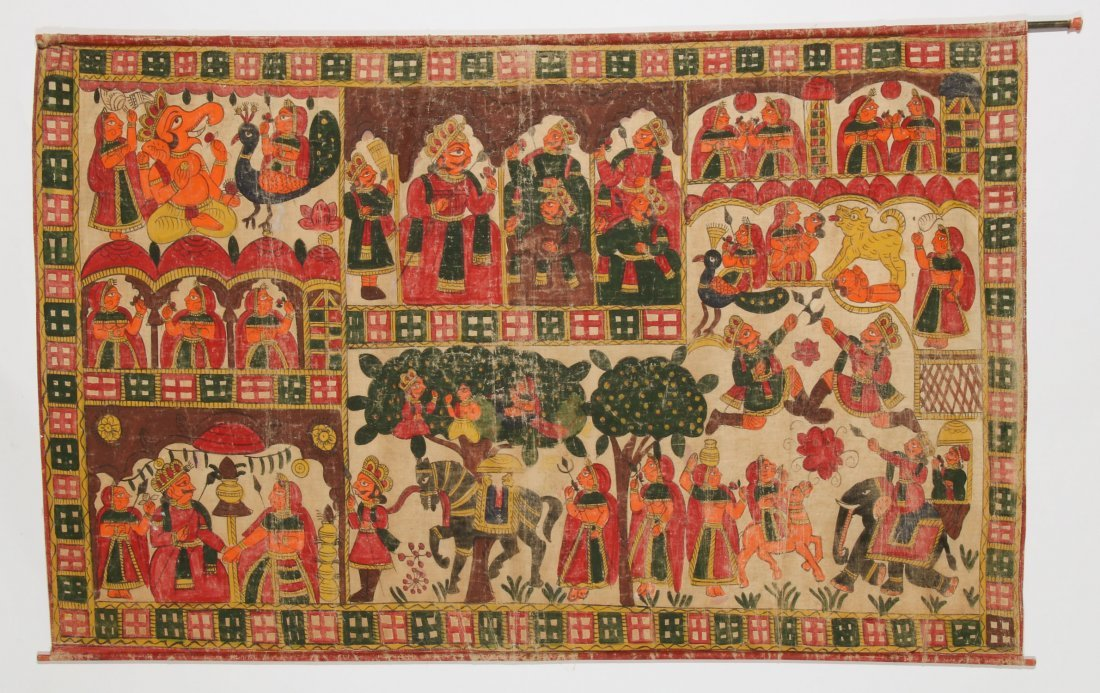 Indian Phad Painting on Canvas, Early 20th C.