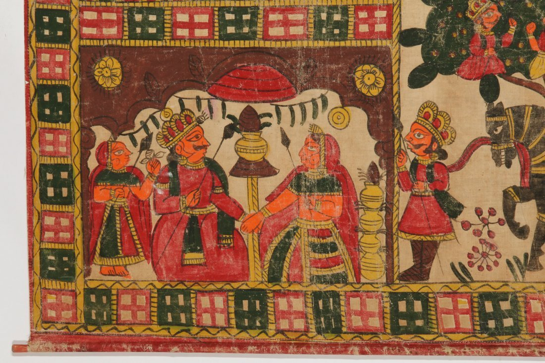 Indian Phad Painting on Canvas, Early 20th C. - 2