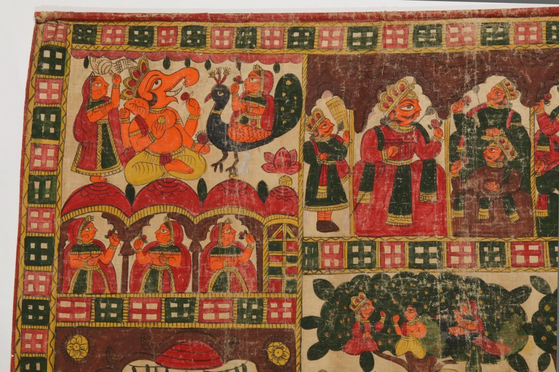 Indian Phad Painting on Canvas, Early 20th C. - 3