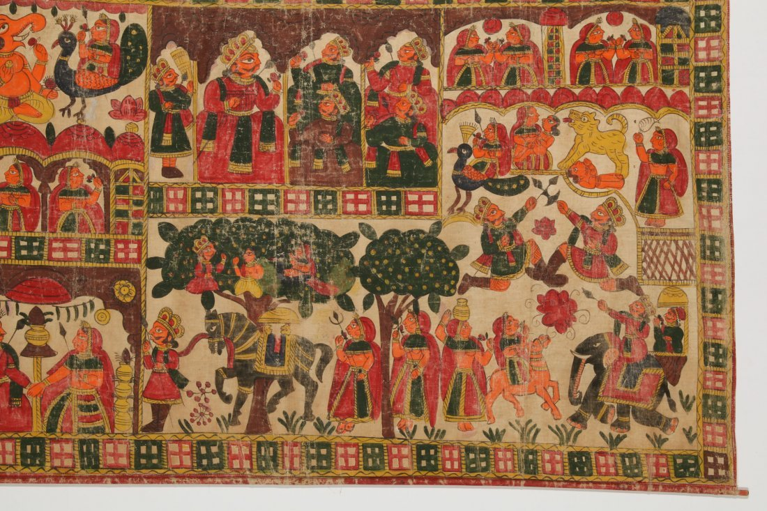 Indian Phad Painting on Canvas, Early 20th C. - 4