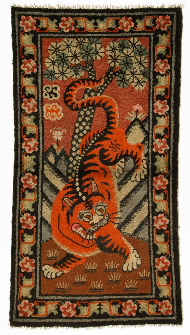 Antique Mongolian Tiger Rug: 3'0'' x 5'3'' (91 x 160