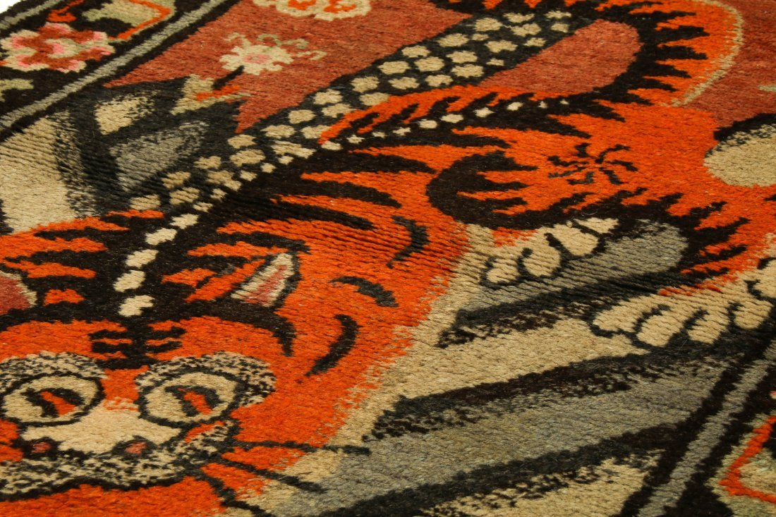 Antique Mongolian Tiger Rug: 3'0'' x 5'3'' (91 x 160 - 3