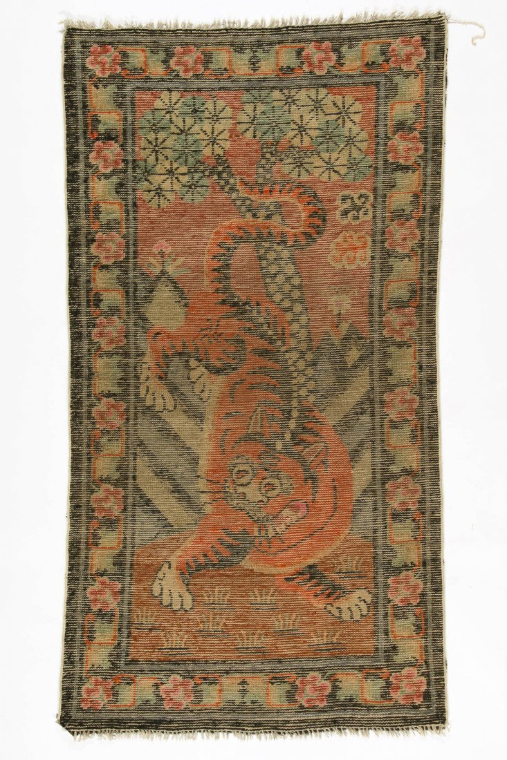 Antique Mongolian Tiger Rug: 3'0'' x 5'3'' (91 x 160 - 4