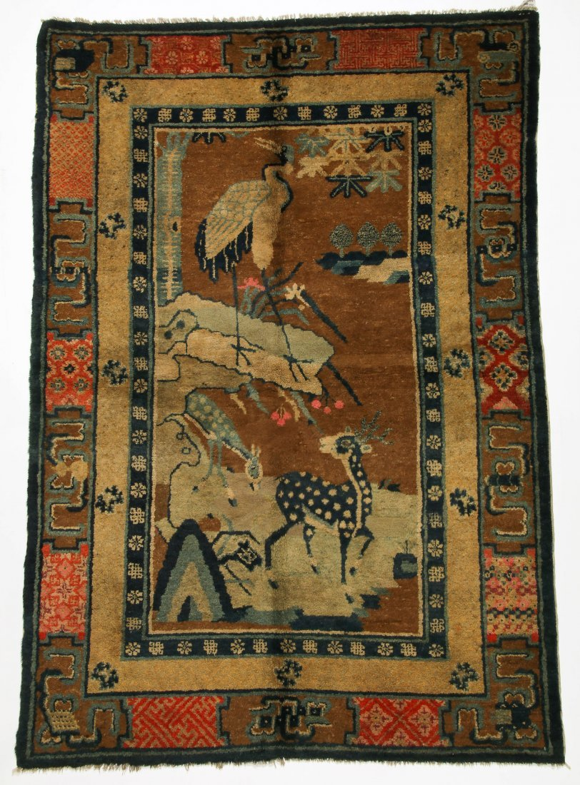 Antique Mongolian Pictorial Rug:   4'1'' x 6'5'' (124 x