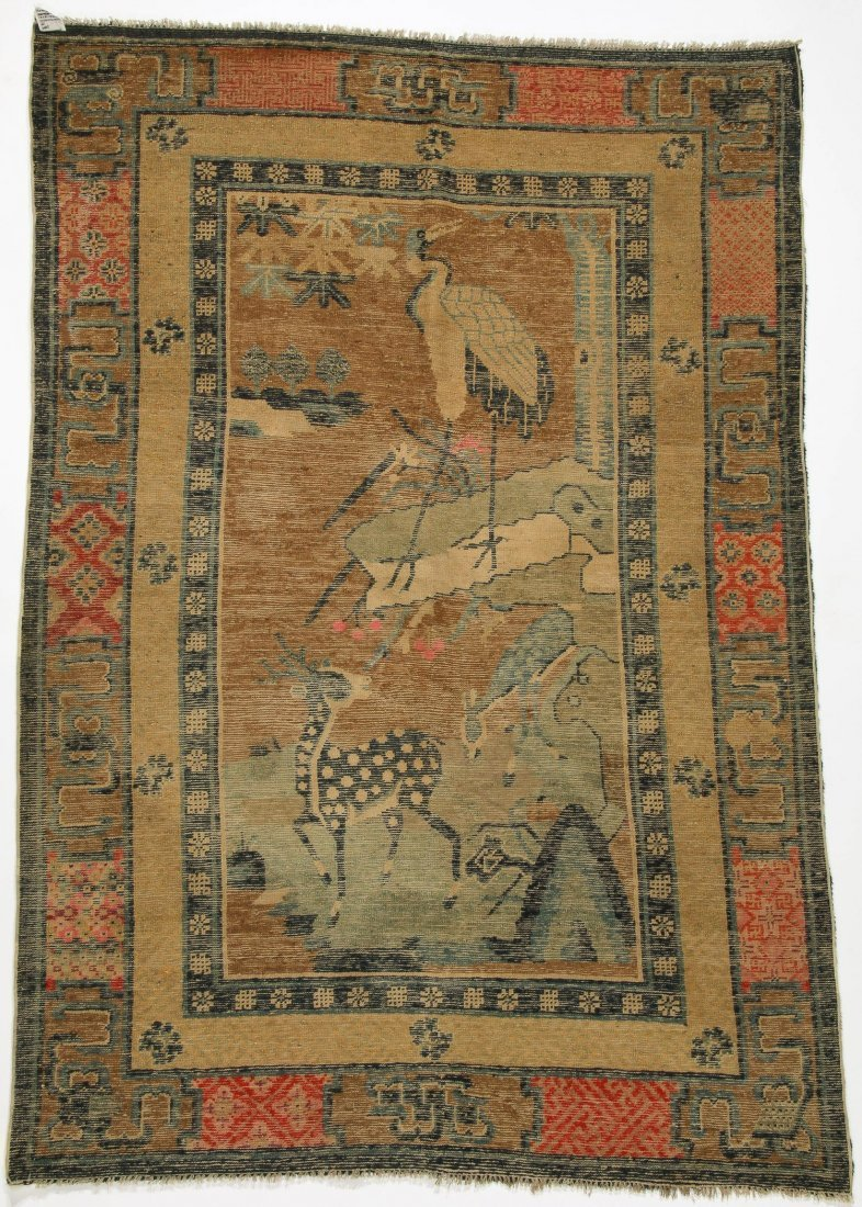 Antique Mongolian Pictorial Rug:   4'1'' x 6'5'' (124 x - 4