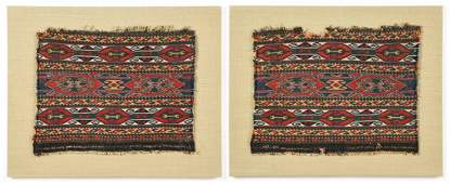 Two Mounted Antique Caucasian Sumak Panels