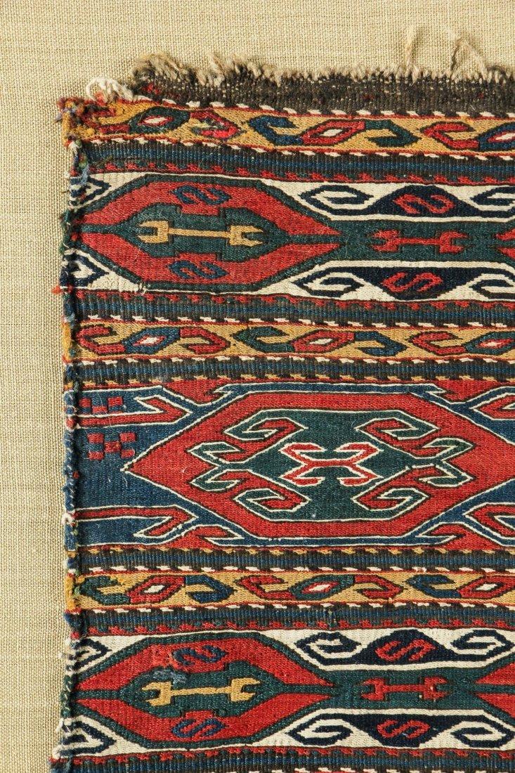 Two Mounted Antique Caucasian Sumak Panels - 4