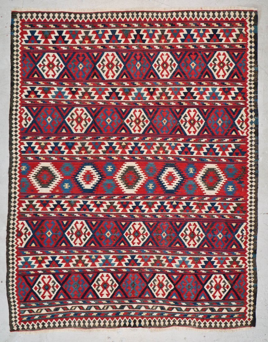 Fine Antique Shahsevan Kilim: 9'5'' x 7'3''