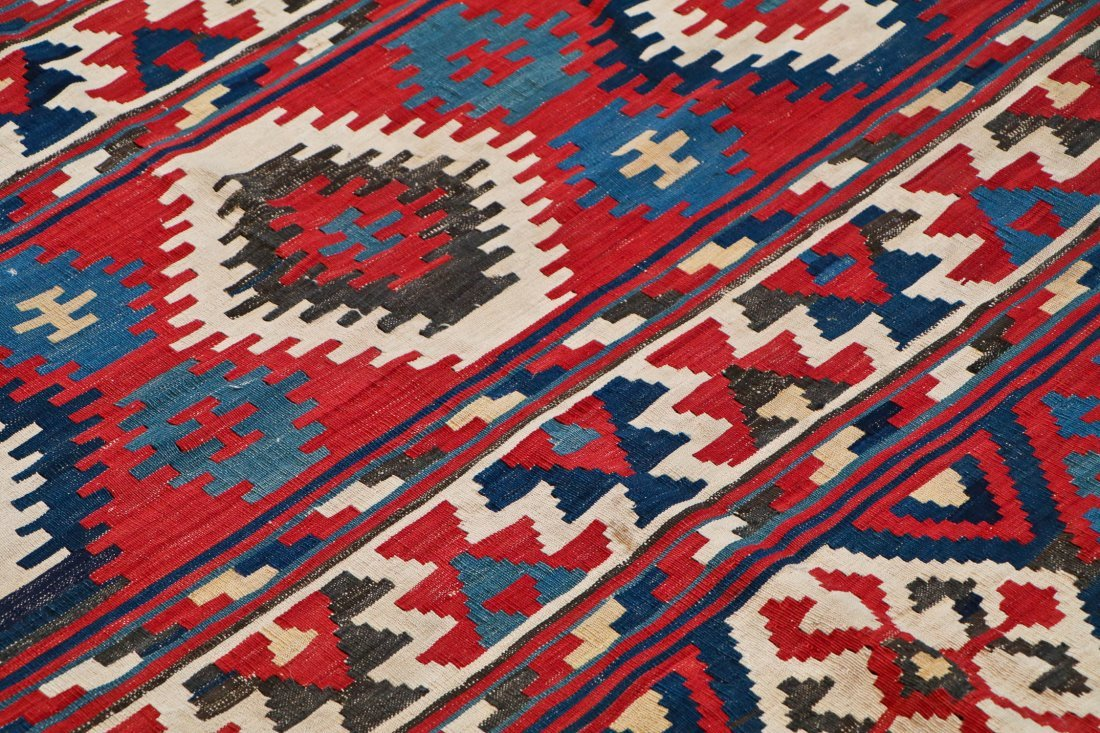Fine Antique Shahsevan Kilim: 9'5'' x 7'3'' - 3