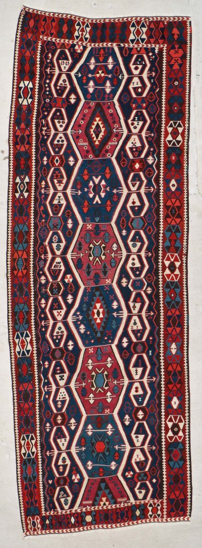 Antique East Anatolian Kilim: 12'1'' x 4' (368 x 122