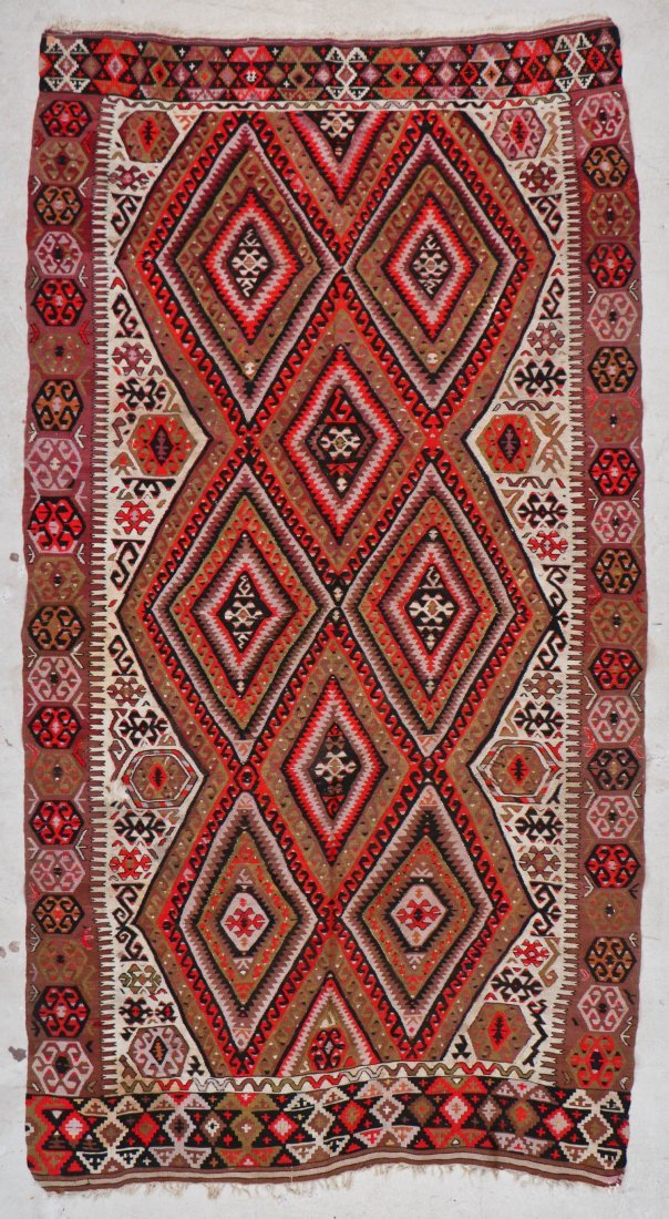 Antique Central Anatolian Kilim: 10'1'' x 5'1'' (307 x
