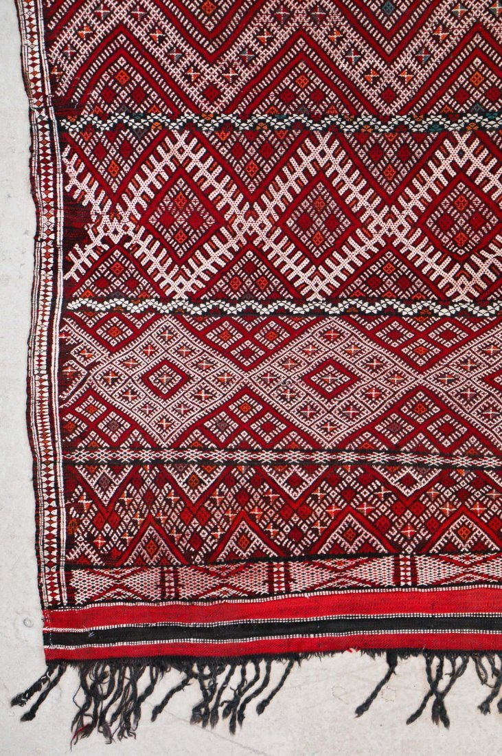 Antique Moroccan Mixed Weave Rug: 8'4'' x 4'10'' (254 x - 2