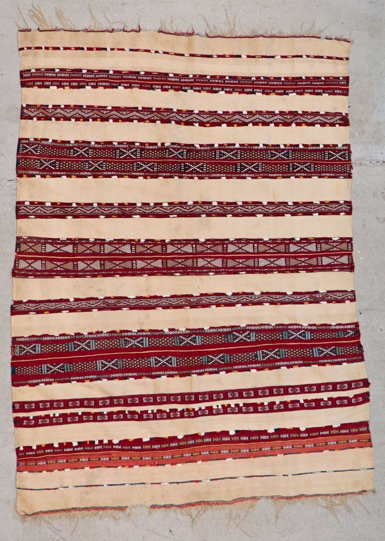 Antique Moroccan Flatweave: 5'2'' x 3'9'' (157 x 114