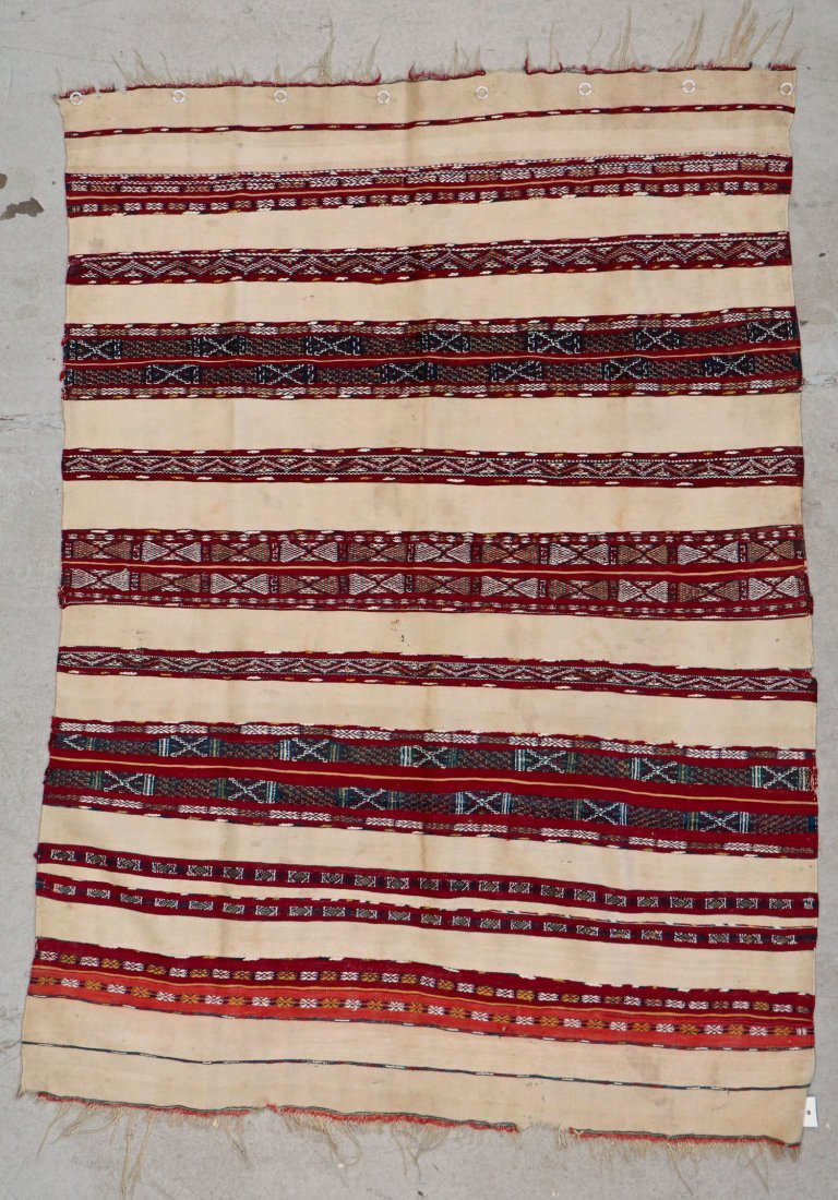 Antique Moroccan Flatweave: 5'2'' x 3'9'' (157 x 114 - 5