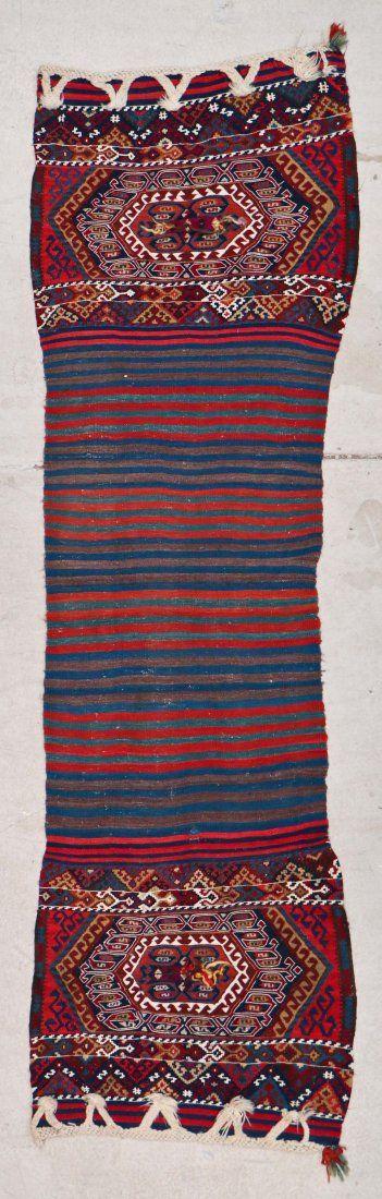 Antique East Anatolian Kilim Heybe: 8'1'' x 2'5''