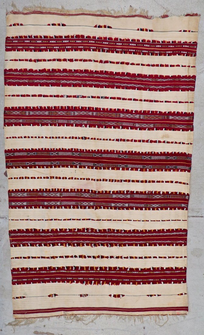 Antique Moroccan Flatweave: 5'10'' x 3'9'' (178 x 114