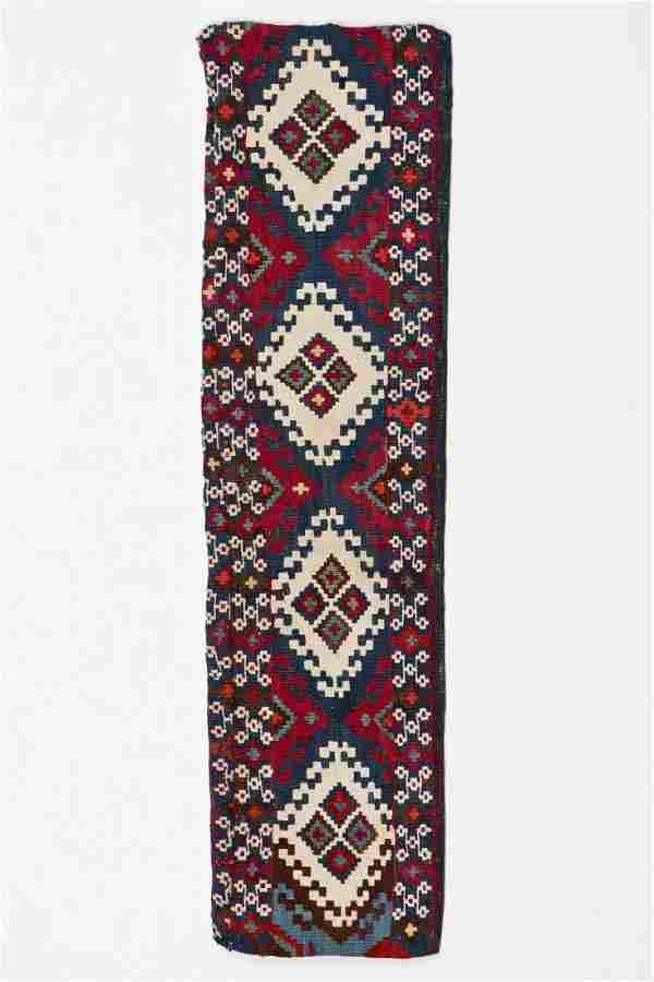 Antique East Anatolian Kilim Panel: 3'4'' x 11''