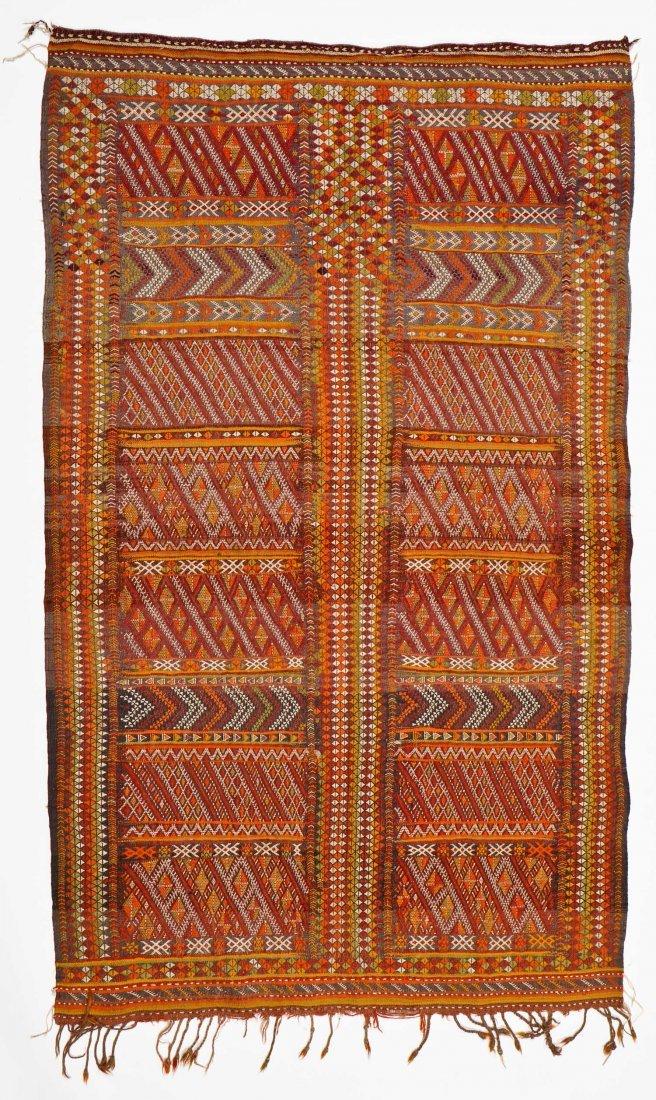 Semi-Antique Moroccan Flatweave: 4'11'' x 3' (150 x 91