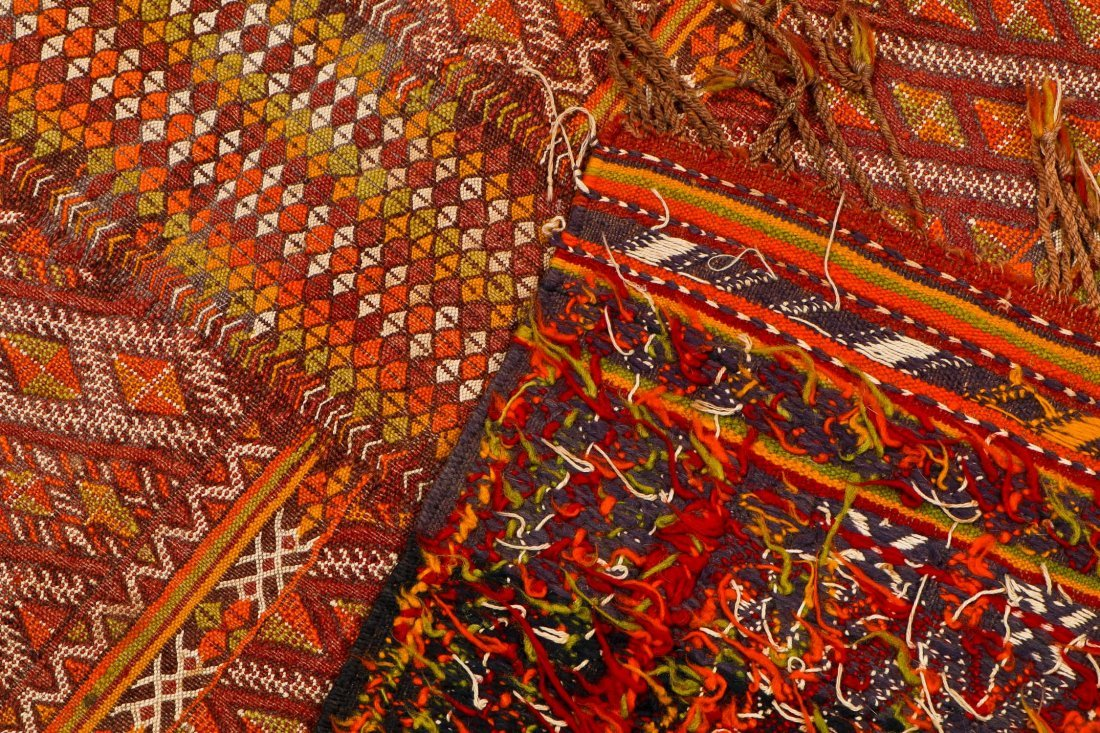 Semi-Antique Moroccan Flatweave: 4'11'' x 3' (150 x 91 - 4