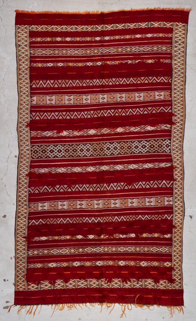 Antique Moroccan Flatweave: 9'10'' x 5'10'' (300 x 178