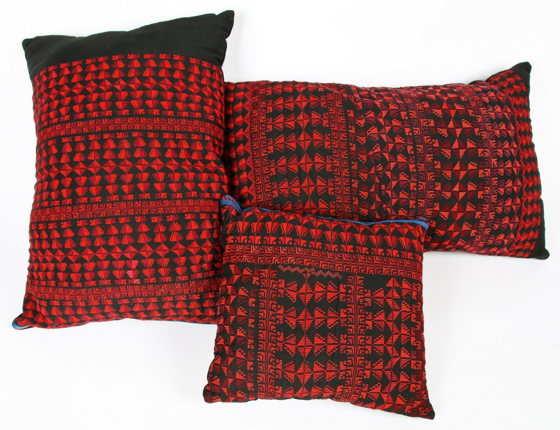 3 Palestinian Embroidered Pillows