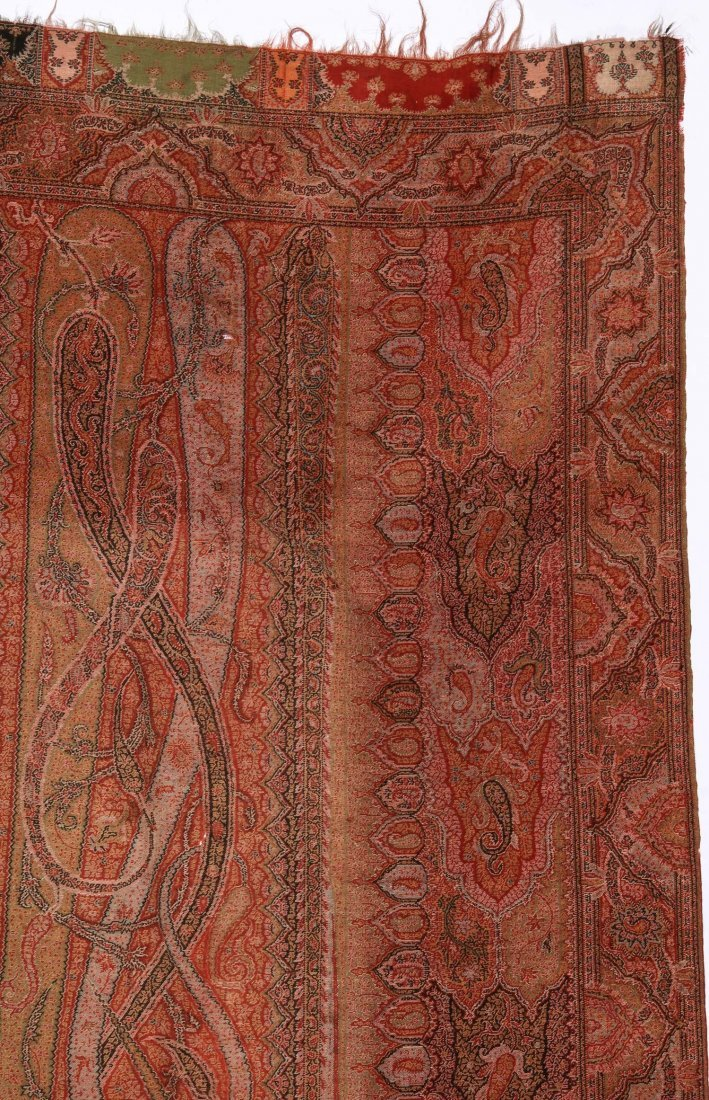 Antique Continental Wool Paisley Shawl - 2
