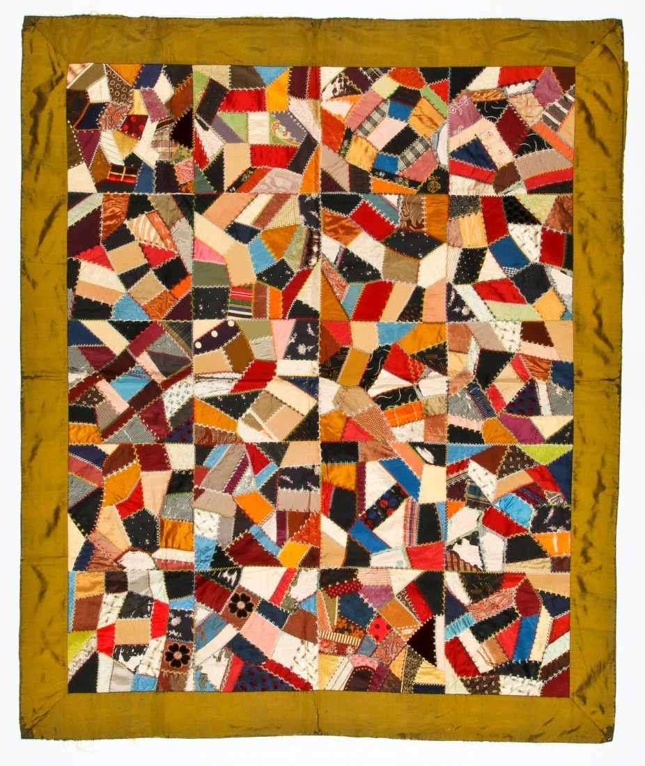 19th C Silk Crazy Quilt