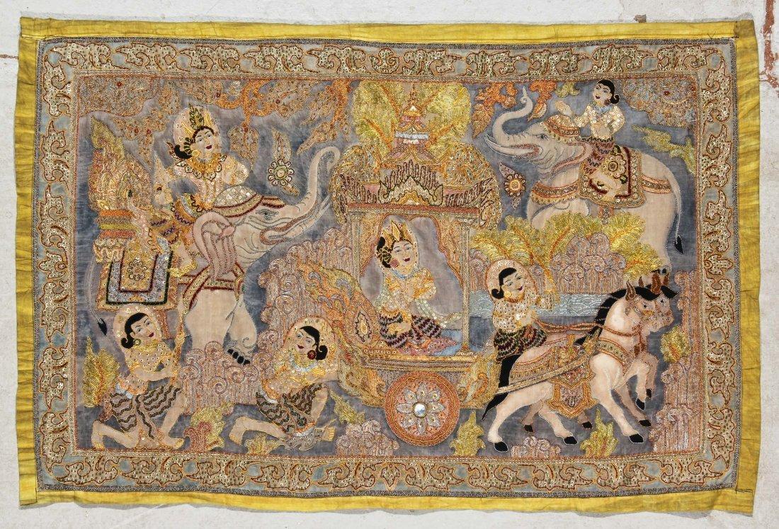 Burmese Kalaga Tapestry, Early 20th C