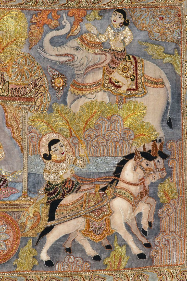 Burmese Kalaga Tapestry, Early 20th C - 3