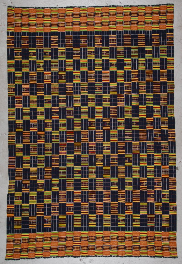 Large Old Kente Cloth: 78'' x 117''