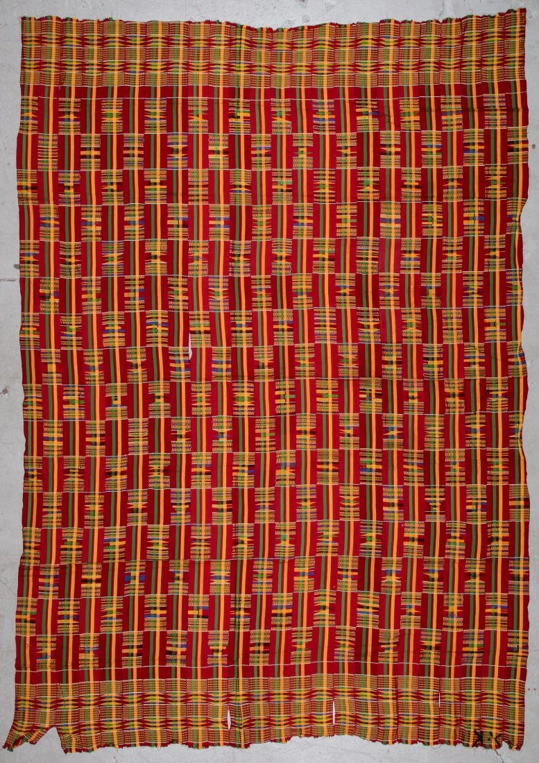 Large Old Kente Cloth: 87'' x 125''