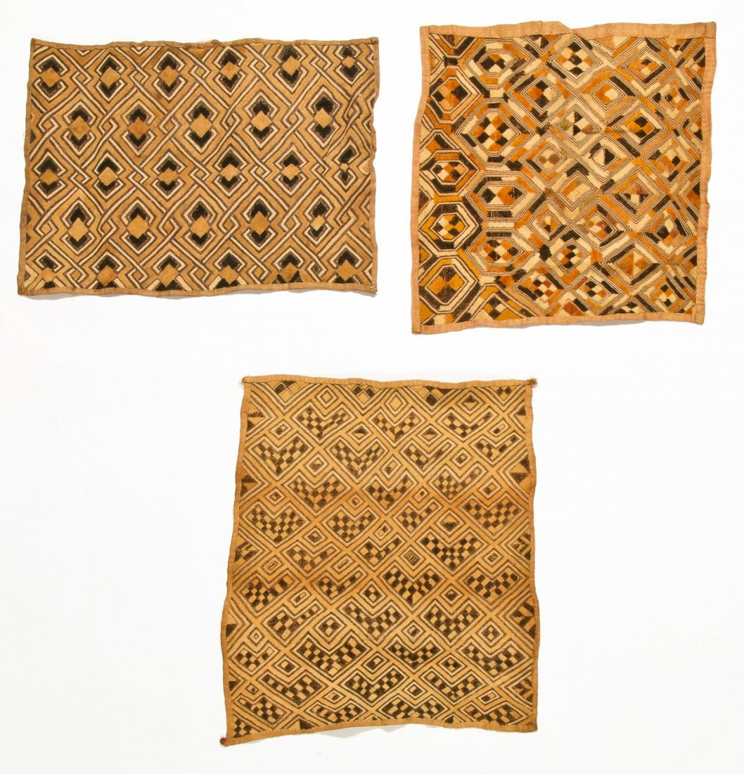 3 Kuba Raffia Embroideries, Early/Mid 20th C