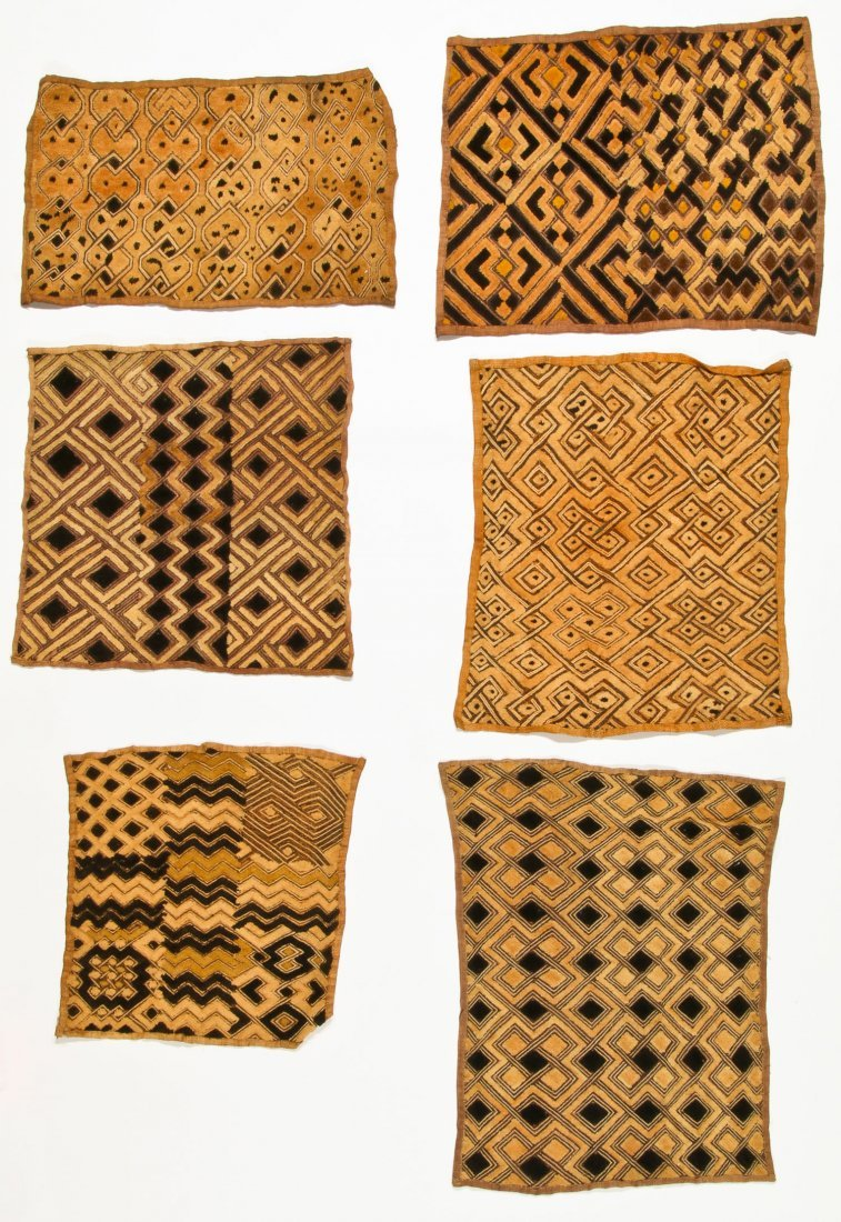 6 Kuba Raffia Embroideries, Early/Mid 20th C