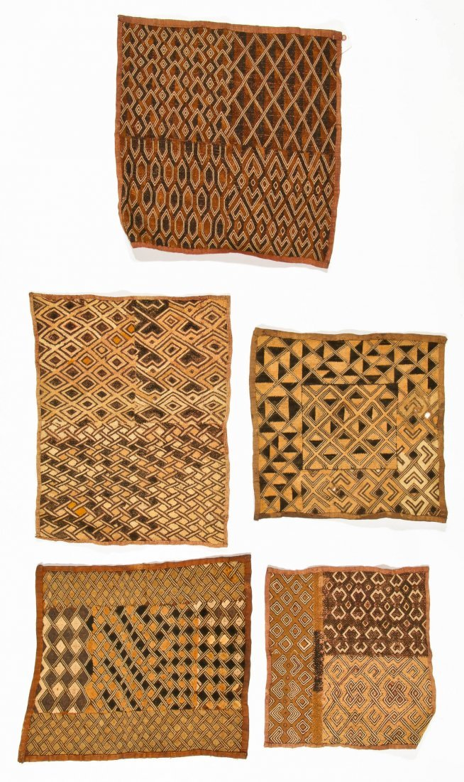 5 Kuba Raffia Embroideries, Early/Mid 20th C